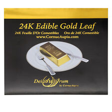 "24K Edible Gold Leaf Sheets, 3,3/8""x3,3/8"", Booklet Transfer 25 Sheets"