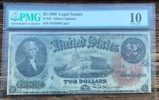 1869 $2 Legal Tender Rainbow PMG 10 Star note RARE!