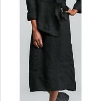 FLAX 100% Linen Black Maxi Skirt Size Small Tie at Back