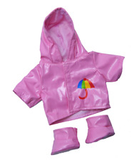 "Pink Raincoat & boots Teddy Bear clothes outfit to fit 16"" build a bear bears"