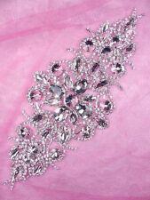 """N72 Applique Crystal Clear Rhinestone Silver Embellishment 8.5"""""""