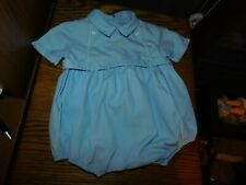 Blue Baby Romper Vintage w/ Embroidered Bodice