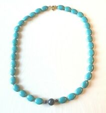 """turquoise/lapis lazuli necklace gold plated beads & clasp 21"""" (gp1)"""