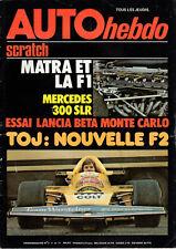 REVUE MAGAZINE AUTO HEBDO N°3 4 au 11 MARS 1976 MATRA et LA F1 MERCEDES 300 SLR