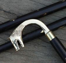 Victorian Brass Wolf Head Handle Style Vintage Walking Stick Wooden Cane Gift