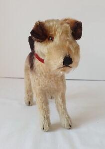 "Vintage Steiff AIREDALE TERRIER Mohair Dog 22 cm or 8"" 1950's - Original Collar"