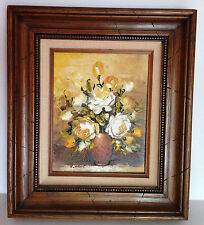 Vintage Artist K.Henant Original Impasto Oil On Board Painting Roses Flowers Fra