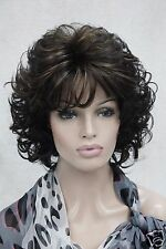 "elegant dark brown with ginger highlight 14"" women's curly synthetic hair wig"
