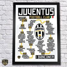 Juventus FC History Timeline Poster - Higuaín, Pogba, Pirlo, Zidane, Del Piero