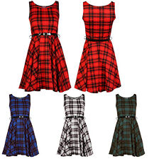 New Womens Ladies Sleeveless Belted Tartan Dress Check Print Skater Size 8-26