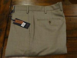 NWT Zanella Mens Devon Beige Wool Flat Front Dress Pants Trousers 34 Nordstrom