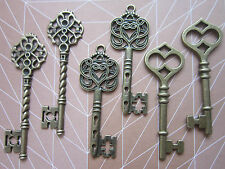 6 x large antique bronze skeleton keys wedding vintage fancy pendants charms