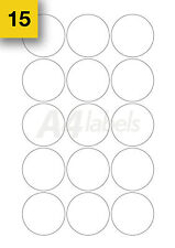 300 x (50mm Diameter) White Round Sticky Labels. Circular A4 Printer Labels.