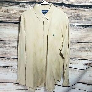 Ralph Lauren Mens Size Large Blake Silk Blend Long Sleeve Solid Shirt
