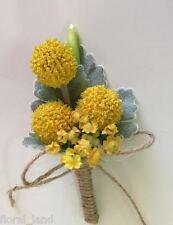 Silk wedding flower groom button holes buttonhole Craspedia Yellow pinhole pins