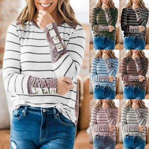 Womens Loose Ladies Blouse Striped Shirt Patchwork Tee Holiday Long Sleeve Tops