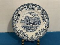 JOHNSON BROS COACHING SCENES Bread Butter Plate IRONSTONE BLUE, VTG ENGLAND