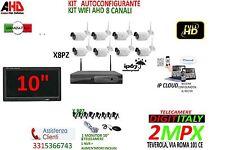 KIT VIDEOSORVEGLIANZA WIRELESS NVR 8 CANALI 8 TELECAMERA WIFI + MONITOR 10