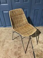 Vintage Wicker Chair Metal Frame Tiki Bamboo Rattan Retro #L
