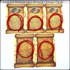 5 Kabbalah Red String Bracelets Evil Eye Protection + 5 Blessing Prayer Cards