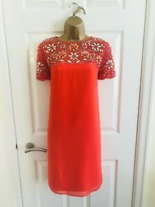 Monsoon Bright Orange Floral Sequin Hand Beaded Occasion Mini Shift Dress £149