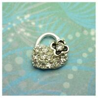New Adorable Handbag Sparkling with Flower Charm for Locket Pendant Keychain Etc