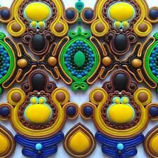 BLU Giallo Orecchini fatti a mano insolita dichiarazione colorate moda bigiotteria fimo