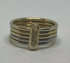 Silver And Bronze Stack Ring Size US 7.5 Signed M Handmade
