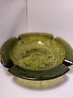 "Vintage Anchor Hocking Large Glass Ashtray Soreno Green Ripple Birds Nest 8.75"""