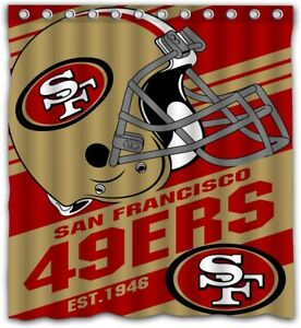 San Francisco 49ers Fabric Waterproof Shower Curtain W/12 Hooks Bathroom Decor