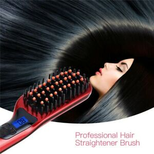 Professional Electric Hair Straightener Brush Comb Ceramic Anti Static Straigh
