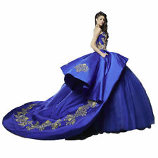 Royal Blue Satin Quinceanera Dress 2018 Christmas Party Celebrity Prom Ball Gown