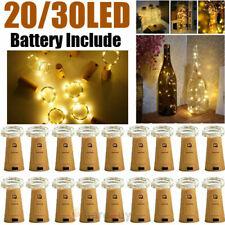 Wine Bottle Fairy String Lights 30 LED Battery Cork For Party Christmas Wedding