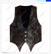 Victorian Vagabond Steampunk Black Edwardian Western Brocade Gothic Men's Vest