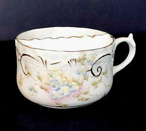 Antique Mustache Tea Cup Embossed Floral Motif Porcelain Gold Trim C190