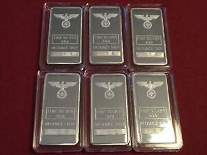 6 x 999 Silberbarren Eisernes Kreuz Adler Iron Cross 6 x 1/4 oz Unzen PP