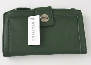 Kenneth Cole Reaction Wallet Women's Green Clutch Snap Close ID Holder NWT