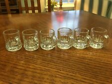 Set of 6 - Vintage Federal Glass Clear Beer Tankard Style Shot Glasses - Barware
