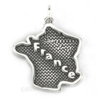 FRANCE charm Country Travel Pendant Sterling Silver 925 .925