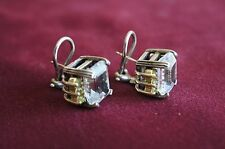 Authentic Lagos Sterling Silver and 18K Gold Earrings with White Topaz