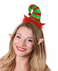 MINI ELF HAT ON HEADBAND AND EARS JINGLE BELL CHRISTMAS FANCY DRESS XMAS PARTY