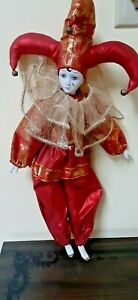 """Vintage Harlequin Pierrot Porcelain And Fabric Show Stoppers Tall 15"""""""