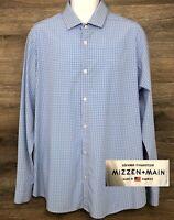 Mizzen+Main Leeward Men Standard Fit Blue Plaid Long Sleeve Performance Shirt XL
