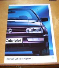 VOLKSWAGEN DAS GOLF CABRIOLET HIGHLINE SALES BROCHURE January 1995 In German