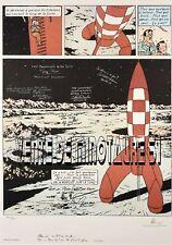 """Tintin - planche de """"On a marché sur la Lune"""" signé des astronautes des Appollo"""
