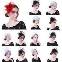 Ladies Wedding Fascinators Flower Hair Clips Feather Headband Hairband Costume