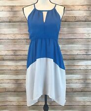 NWT $78 Esley Womens Size S Small Sleeveless Halter High Low Colorblock Dress