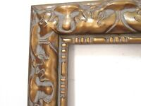 ART NOUVEAU,  HAND CARVED GILDED WOOD FRAME FOR PAINTING  20 X 16 INCH  (f-17)