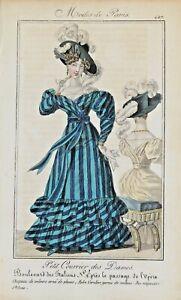 PERIOD COSTUME, Ladies Opera Dress, Paris Fashion plate 427 antique print 1826
