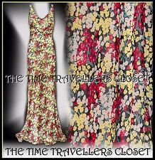 KATE MOSS TOPSHOP RED YELLOW GREEN FLORAL FISHTAIL MAXI DRESS VINTAGE 20s UK 6